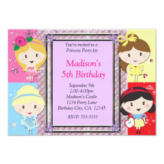 Girls Princess Party Birthday Invitation