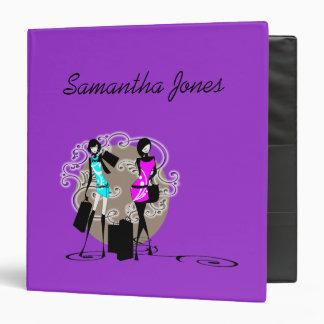 Girls purple blue fashion divas vinyl binder