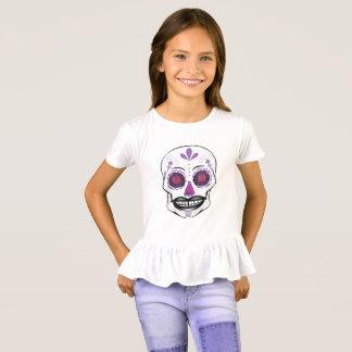 Girls Purple Candy Skull Ruffle Shirt