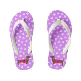 Girls Purple Dachshund Flip Flops