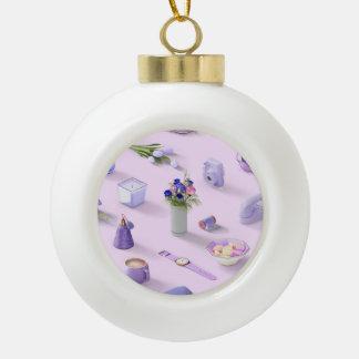 Girl's Purple Dream Ceramic Ball Ornament