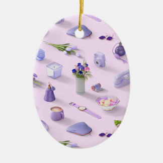 Girl's Purple Dream Ceramic Oval Ornament
