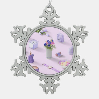 Girl's Purple Dream Pewter Snowflake Ornament