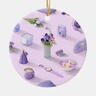 Girl's Purple Dream Round Ceramic Ornament
