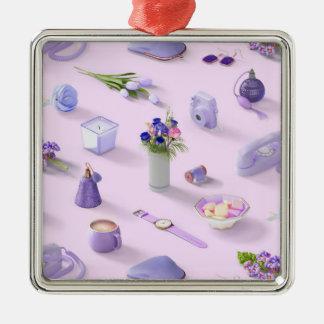 Girl's Purple Dream Silver-Colored Square Ornament