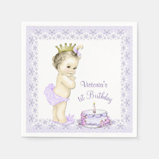 Girls Purple Princess 1st Birthday Cocktail Napkin Paper Napkins