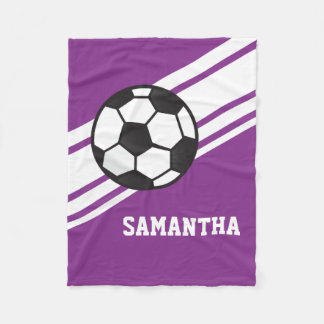 Girl's Purple Soccer Ball Sports Personalized Name Fleece Blanket