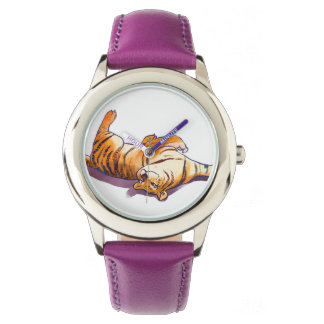 Girls purple tiger watch