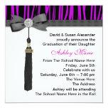 Girls Purple Zebra Graduation Announcements