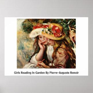 Girls Reading In Garden By Pierre-Auguste Renoir Poster