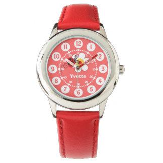 Girls red ladybug, white name wrist watch