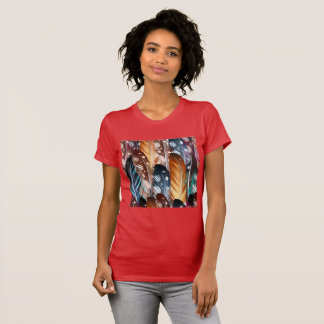 Girls red tshirt with Feathers
