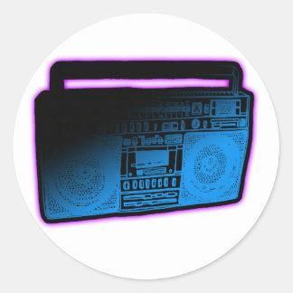girls Retro rave electro music DJ shirt hat tee Classic Round Sticker