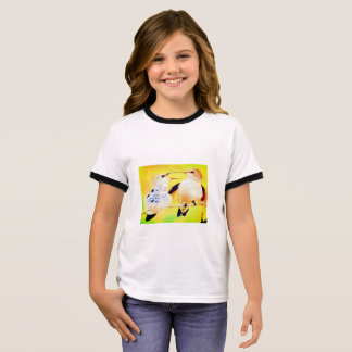 GIRLS' RINGER T-SHIRT - PAIR OF BIRDS