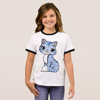 Girl's Ringer T-Shirt Short sleeves cat  Animal
