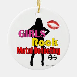 Girls Rock Metal Detecting Christmas Ornament