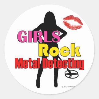 Girls Rock Metal Detecting Round Stickers