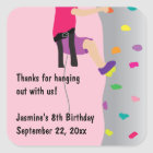 Girl's Rock Wall Climbing Birthday Party Favour Square Sticker