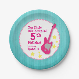 Girl's Rockstar Birthday with Pink Guitar 7 Inch Paper Plate