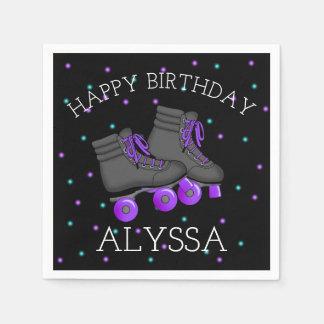 Girl's Roller Skate Birthday Paper Napkin