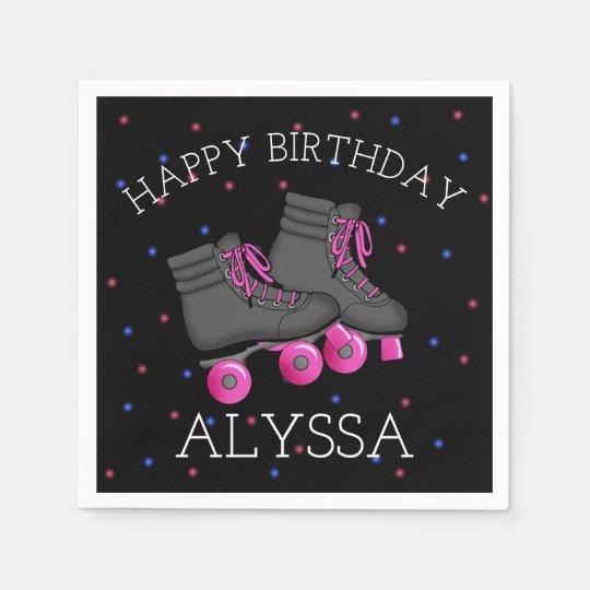 Girl's Roller Skate Birthday Paper Napkins