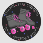 Girl's Roller Skate Birthday Thank You Classic Round Sticker