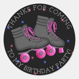 Girl's Roller Skate Birthday Thank You Classic Round Sticker