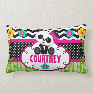 Girls Room Panda Bear Personalized Pillow
