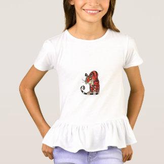 GIRLS' RUFFLE T-SHIRT - CARTOON TIGER