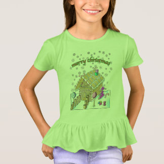 Girls' Ruffle T-Shirt, Merry Christmas T-Shirt