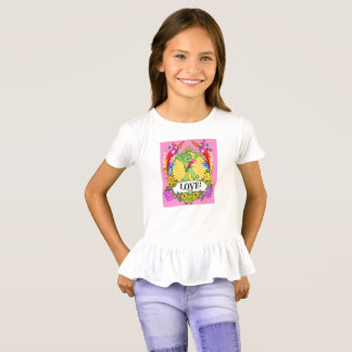 Girls' Ruffle T-Shirt Munchi Power! LOVE pink