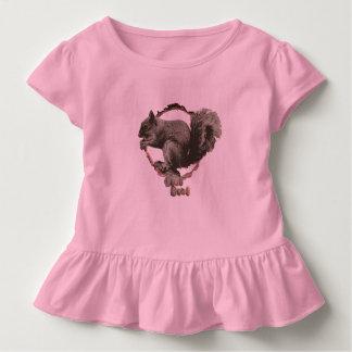 Girls ruffled squirrel top. toddler t-shirt