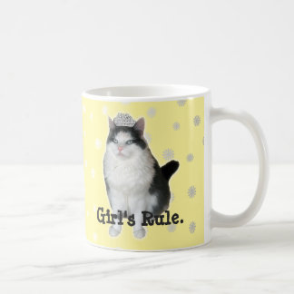 """""""Girl's Rule"""" Cat Tiara Mug"""