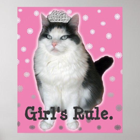 """""""Girl's Rule"""" Cat Tiara Poster"""