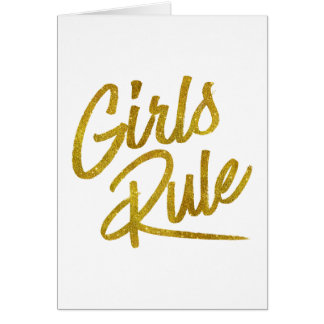 Girls Rule Gold Faux Foil Metallic Glitter Quote Card