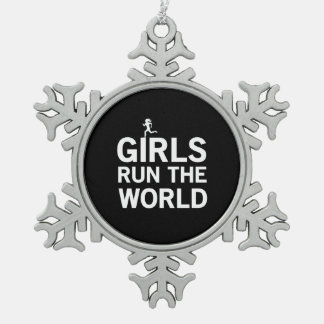 Girls Run the World Snowflake Pewter Christmas Ornament