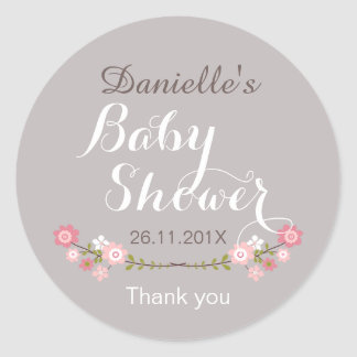 Girls Rustic Floral Baby Shower Favour Sticker