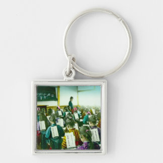 Girls School in Old Japan Vintage Classroom Silver-Colored Square Keychain