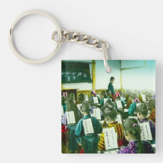 Girls School in Old Japan Vintage Classroom Single-Sided Square Acrylic Keychain