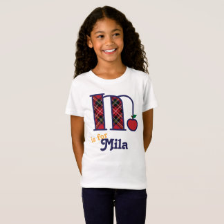 Girls School Monogram Shirt Apple Initial M