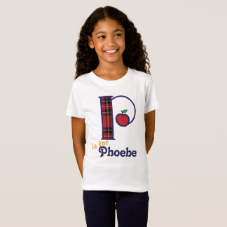 Girls School Monogram Shirt Apple Initial P