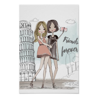 Girls selfie illustration in Pisa Italy Poster