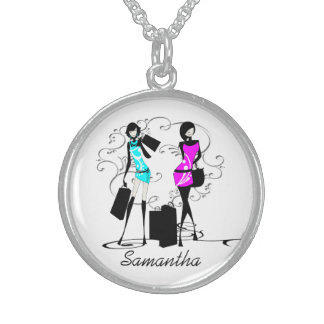 Girls shopping | Personalize name Round Pendant Necklace