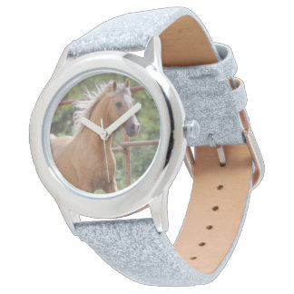 Girls Silver Glitter Watch with Horse Photo