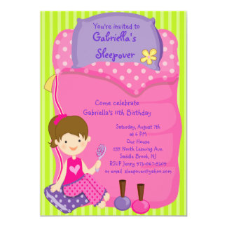Girls Sleeping bag Sleepover Birthday Invitation