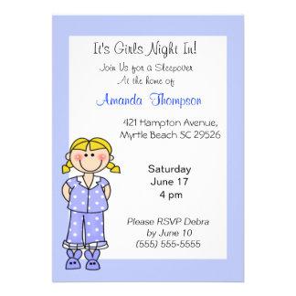 Girls Sleepover Birthday Invitations