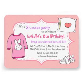 Girls Slumber Birthday Party Sleepover Pyjama Personalized Invitation
