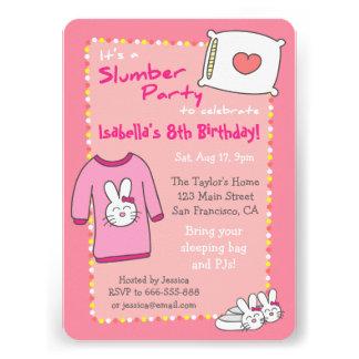Girls Slumber Birthday Party Sleepover Pyjama Personalized Announcement