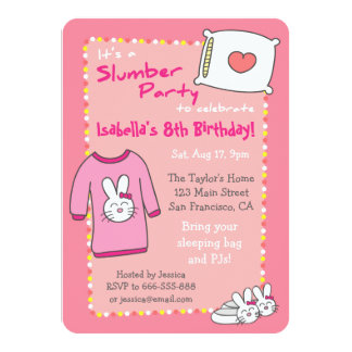 "Girls Slumber Birthday Party, Sleepover Pyjama 4.5"" X 6.25"" Invitation Card"