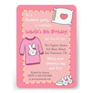 Girls Slumber Birthday Party Sleepover Pyjama Custom Invitation